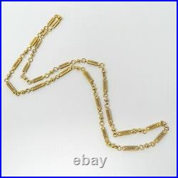 LONG 18 kt Yellow GOLD Late Victorian Bar Link Chain Necklace 28 3/4 A7764