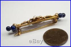 LOVELY ANTIQUE ENGLISH 15K GOLD LAPIS LAZULI & PEARL BAR BROOCH c1890