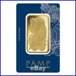 Lot of 10 100 gram Gold Bar PAMP Suisse Lady Fortuna Veriscan. 9999 Fine In