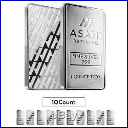 Lot of 10 1 oz Asahi Silver Bar. 999 Fine