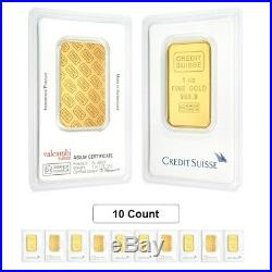 Lot of 10 1 oz Credit Suisse Gold Bar. 9999 Fine (In Assay)