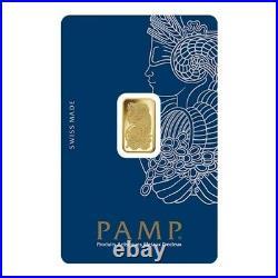 Lot of 10 2.5 gram Gold Bar PAMP Suisse Lady Fortuna Veriscan. 9999 Fine In