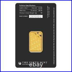 Lot of 2 10 gram Perth Mint Gold Bar. 9999 Fine (In Assay)