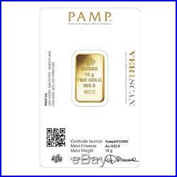 Lot of 5 10 gram Gold Bar PAMP Suisse Lady Fortuna Veriscan. 9999 Fine In