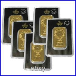 Lot of 5 Gold 1 oz RCM Royal Canadian Mint Gold. 9999 Fine Sealed In Assay Bars