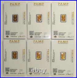 Lot of (6) Pamp Suisse 1 Gram. 9999 Fine Gold Fortuna Bullion Bars