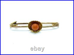 Lovely Antique Victorian 9CT Gold & Coral Clam Shell Bar Brooch Pin 1.5 grams