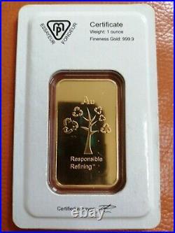 Metalor 1oz Gold Bar 999.9 Pure Fine Gold Bullion Bar, SEALED FAST DISPATCH