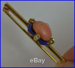 Mid Victorian 15ct Gold Coral Diamond Enamel Bar Brooch p1825