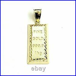 New 10k Yellow Gold 999.9 fine gold bar brick bar Pendant charm diamond cut 3.8g