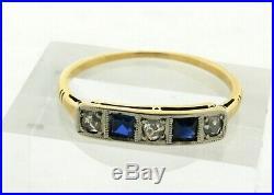 Original Art Deco Diamonds Sapphires Platinum 18K Gold Bar Ring
