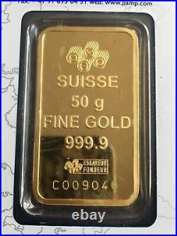 PAMP SUISSE 50g 999.9 FINE GOLD BAR