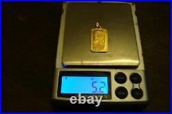 PAMP SUISSE 5 GRAM LADY FORTUNA PENDANT BAR 24K 999.9 FINE with750 18K GOLD BAIL