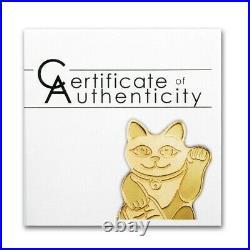 Palau Maneki Neko Lucky Cat. 9999 Fine 1/2 Gram Gold $1 New