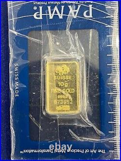 Pamp Suisse 10 Gram Fine Gold 999.9 In Assay Card