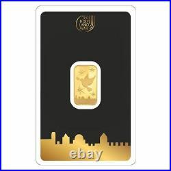 Peace Dove Fine Gold Bar 1 Gram Assayed 999.9 Holy Land Mint