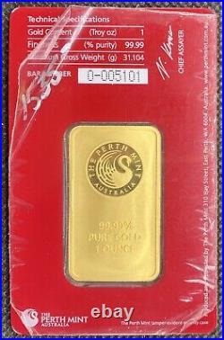Perth Mint 1 oz Gold ORIANA Bar BU (New in Assay). 9999 Fine Gold RARE