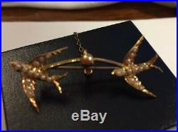 Pretty Antique Victorian 15ct Gold Two Swallow Bird Bar Brooch Pin Vintage A&W