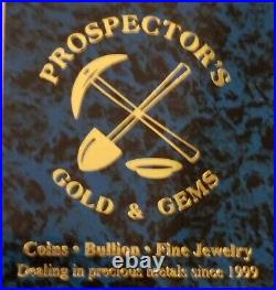 Prospector's Gold & Gems Poured 7 oz Silver Bar. 999 Fine Silver Silver