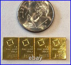 Purchase Now 4- 1 Gram, Valcambi Bars, 999.9 Fine Gold Combi Bar