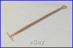 RARE EDWARDIAN HM 9ct SOLID GOLD ALBERT NECKLACE with T Bar 28.4g