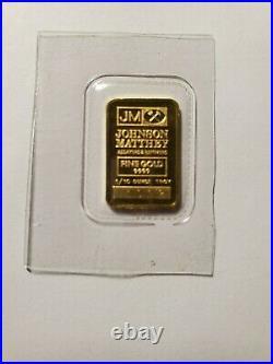 RARE Johnson Matthey 1/10 Ounce Fine Gold. 9999 Bar No. A1092 (Sealed)