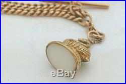 RARE VICTORIAN HM 9ct SOLID GOLD ALBERT NECKLACE with T Bar AND SWAN FOB 35.5 g