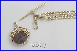 RARE VINTAGE HM 9ct SOLID GOLD FIGARO NECKLACE with T Bar & BLOODSTONE FOB