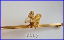 Rare Antique Edwardian 15ct Gold Squirrel Holding a Pearl Bar Brooch c1905