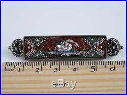 Rare Antique Victorian c1850 Italian Micro Mosaic Bar Brooch 9K Gold, Swan, 11g