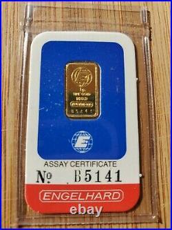 Rare No staples. Engelhard 1 Gram Fine 999.9 GOLD Bar Bullion Card Assay Cert