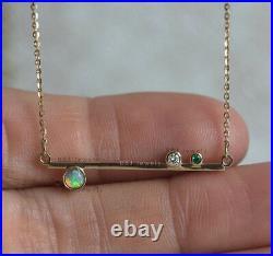 Real Zambia Emerald Bar Pendant Necklace Solid 14K Yellow Gold Diamond Jewelry