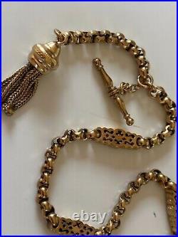 SUPERB ANTIQUE 9ct ROLLED GOLD ALBERTINA CHAIN BRACELET T BAR DOG CLIP TASSLE