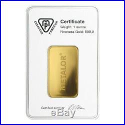 Sale Price 1 oz Metalor Gold Bar. 9999 Fine (In Assay)