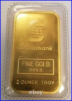Scotiabank (Engelhard) 2 Troy Ounces bar 99.99% Fine Gold Sealed LOW number