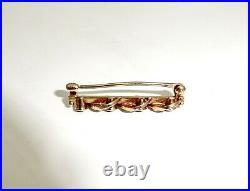 Small Vintage Krementz 14k Solid Gold Seed Pearl Blue Sapphire Bar Pin, 1