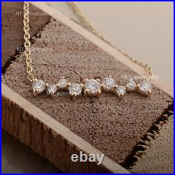 Solid 14K Yellow Gold Real SI G-H Cluster Diamond Bar Charm Pendant Necklace