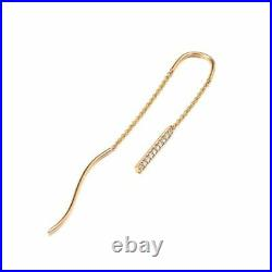 Solid Gold 0.10Ct. Genuine Diamond Long Bar Chain Threader Earrings Fine Jewelry