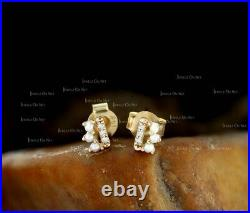 Solid Gold Genuine Diamond And Freshwater Pearl Tiny Bar Stud Earrings Jewelry