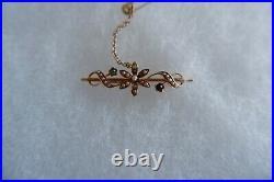 Suffragette Art Nouveau 15 Ct Gold Bar Brooch, Safety Chain C1890's, Box