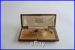 Suffragette Art Nouveau 15ct Gold Bar Brooch, Safety Chain C1890's Period Box