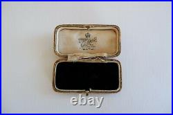 Suffragette Art Nouveau 9ct Gold Turquoise & Crystal Bar Brooch C1890's Box