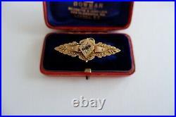 Suffragette Art Nouveau Period 9ct Gold Garnet Bar Brooch C1900's, Box, 4.27g