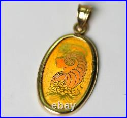 Suisse Hologram 2.5 Gram 9999 Fine Gold Oval Bar with 14k Bezel & Bail RARE