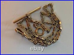 Superb Antique Fancy Link 9ct Gold Albert Pocket Watch Chain T Bar Dog Clip