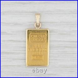 Swiss Gold Bar Pendant 999 Fine Gold 2.5g 14k Frame Credit Suisse