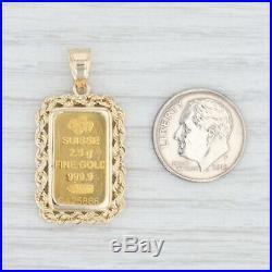 Swiss Gold Bar Pendant 999 Fine Gold 2.5g 14k Frame Figural Suisse PAMP