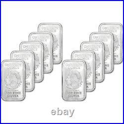TEN (10) 1 oz. Golden State Mint Silver Bar Aztec Calendar. 999 Fine