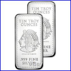 TWO (2) 10 oz. Golden State Mint Silver Bar Aztec Calendar. 999 Fine