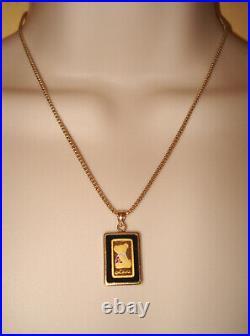 Teddy Bear -Love- Pendant 1 g Solid 999.9 Fine Gold Bar 14K Chain & Bezel / Onyx